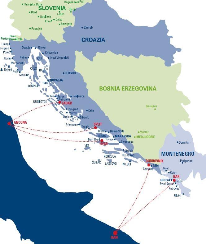 Cartina Della Croazia E Slovenia.Cartina Croazia Mappa Collegamenti Internazionali Italia Croazia